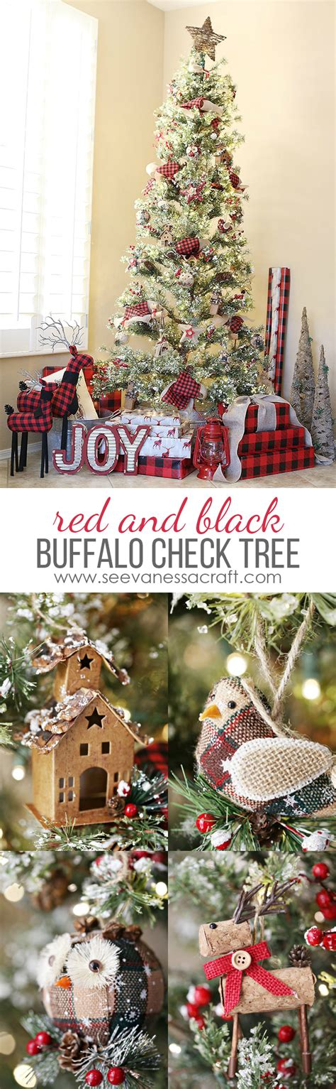 christmas red black buffalo check woodland tree see