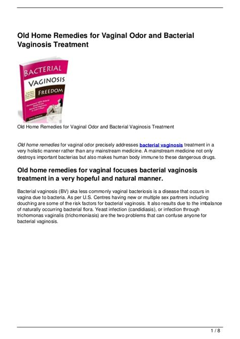 home remedies for odor and bacterial vaginosis