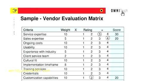 vendor performance evaluation template vendor evaluation template illw info