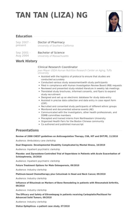 clinical research coordinator resume sles visualcv resume sles database