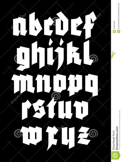 alfabeto gotico lettere fonte gotica di alfabeto illustrazione vettoriale