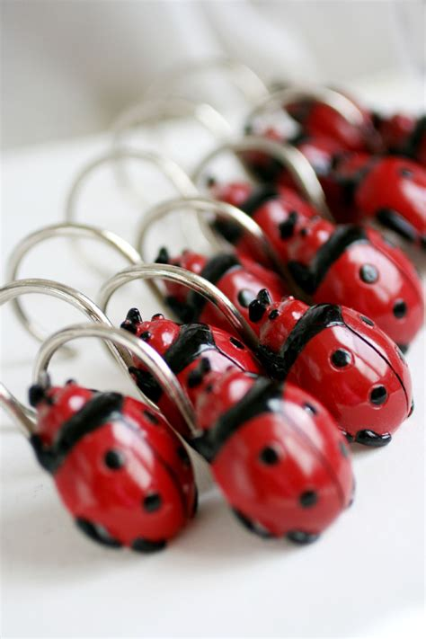 ladybug shower curtain 12 vintage red ladybug shower curtain hooks lady bug hooks
