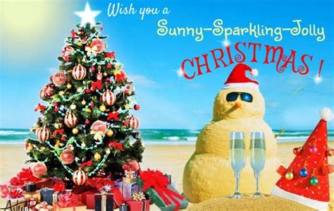 sunny sparkling jolly christmas  summer ecards greeting cards