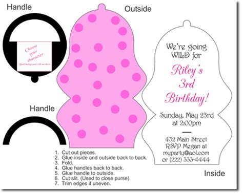 printable purse invitation template ballet birthday invitations candy wrappers thank you