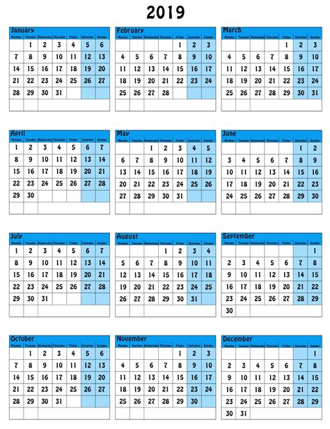 2013 printable one page calendar yearly excel template 2012