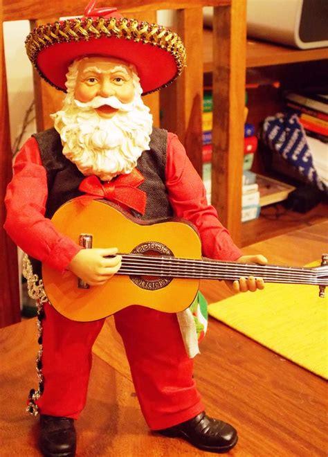 mariachi mexican santa  guitar horchow christmas mexican art decor santa