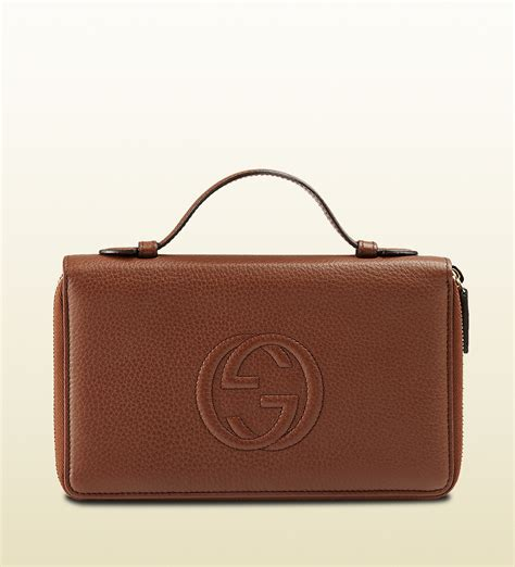 Gucci Color Center Leather Brown lyst gucci soho leather travel document in brown for