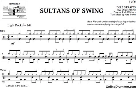 sultuns of swing sultans of swing dire straits drum sheet music