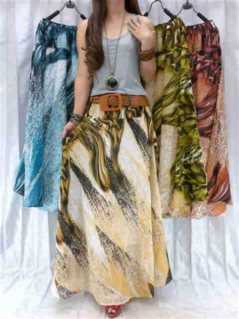 Rok Panjang 1 All Size rok panjang modis motif etnik shiffon furing rok kerja