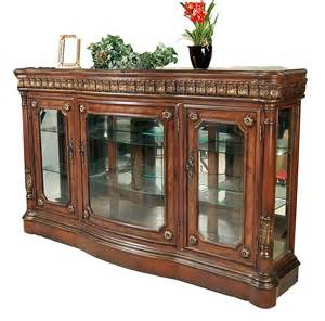 Glass Front Buffet Sideboard Classic Walnut Cherry Finish Curio Console Buffet Ebay