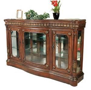 Curio Cabinet Console Table Classic Walnut Cherry Finish Curio Console Buffet Ebay