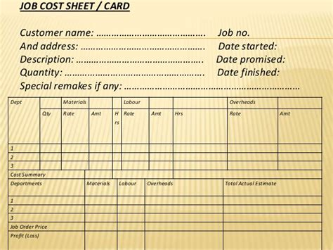 order cost card template order cost system