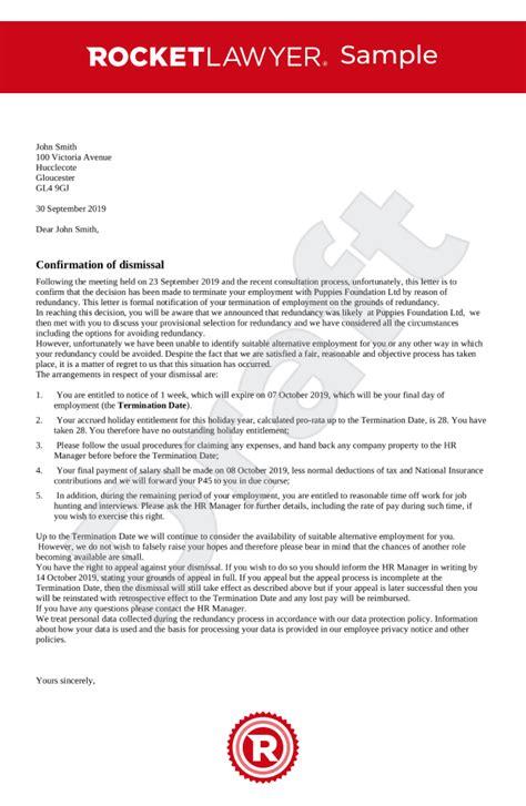 dismissal letter redundancy uk template