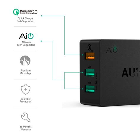 Travel Charger 2port Charging 3 0 Original Aukey Pa T16 T1910 3 aukey charge 2 0 wall charger 3 port usb 42w fast charge station worldwide fast free shipping