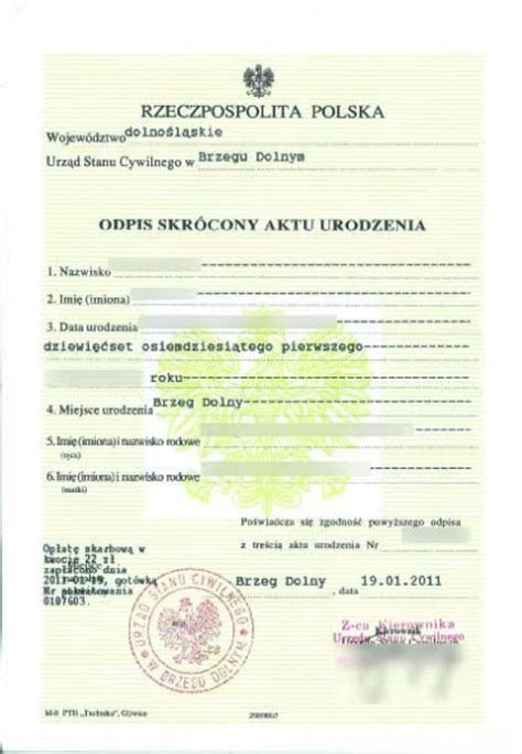 Birth Records Poland Portfolio Of Translations To To To Portuguese And To Your