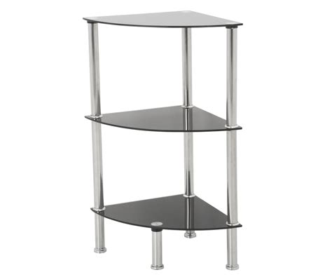 3 tier corner black glass shelving unit tv furniture direct