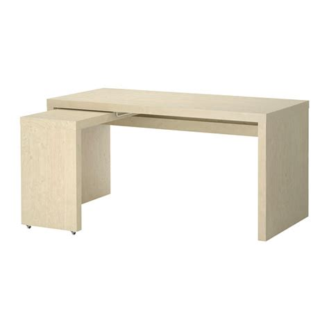 Malm Desk With Pull Out Panel Birch Veneer Ikea Ikea Table Bureau