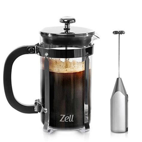 Subron Stainless Press Tea Coffee Plunger Milk Frother 800ml zell press coffee maker with stainless steel frame and electric milk frother set clear
