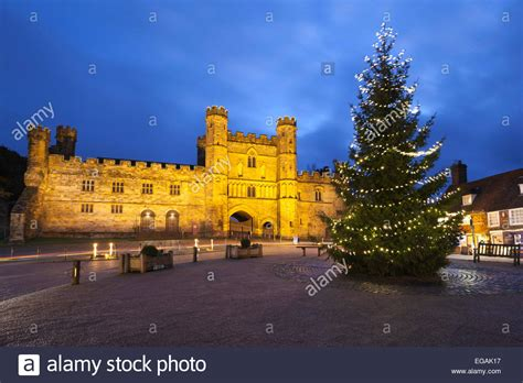 battle abbey with christmas tree battle east sussex
