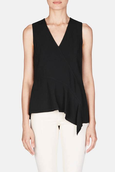 Grid Flounced Top Size L 13226 proenza schouler sleeveless asymmetrical top black the line
