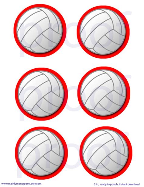 Printable Volleyball Name Tags | 3 inch printable volleyball tags or labels red outline