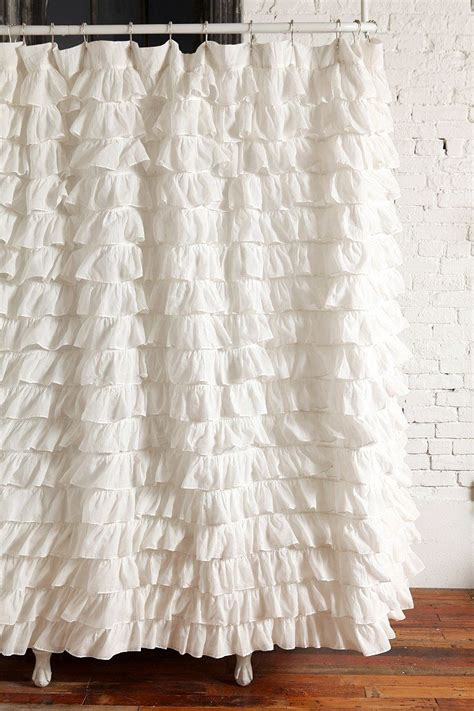 curtains with ruffles waterfall ruffle shower curtain