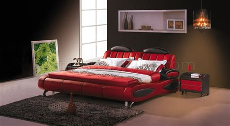 red beds red leatherette modern bed w black accents