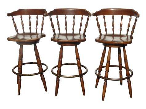 Country Bar Stools Swivel country wood swivel bar stools set of 3 chairish