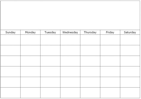 printable 6 week blank calendar 7 best images of 4 week calendar printable free