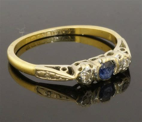 Sale Ring Plat Besi Ring Mut Diameter 2 5 Cm vintage 9ct yellow gold plat three sapphire ring size n 1 2 jollys jewellers