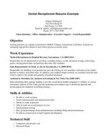 Resume Samples Medical Receptionist by Hospital Receptionist Resume