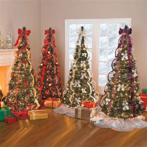 pre decorated collapsible christmas trees pull up trees for and easy setting it s time
