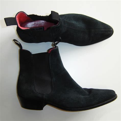 beatle boots for black leather suede beatle ankle boots by beatwear size