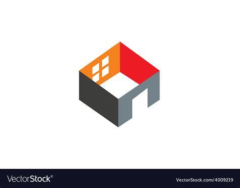 interior logo 3d home construction interior logo royalty free vector image