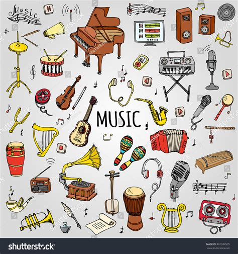 musical doodle free mp3 doodle set vector stock vector 401034535