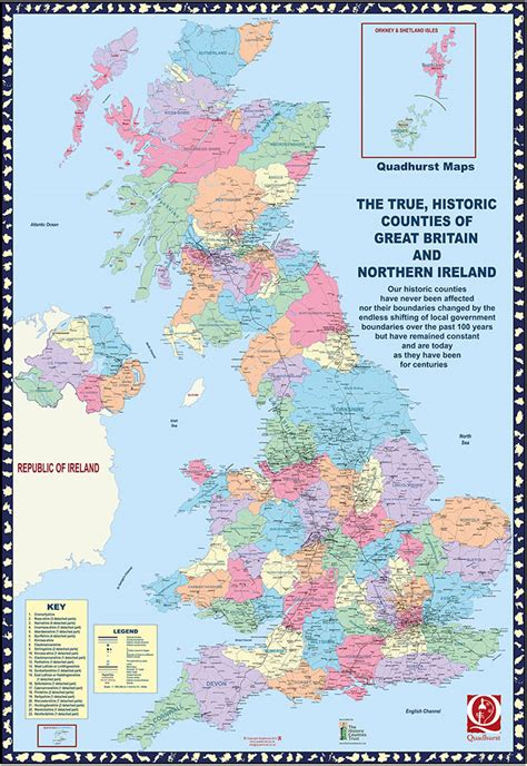 Great Britain Address Lookup The True Historic Counties Of Great Britain And Northern Ireland Folded Map For All