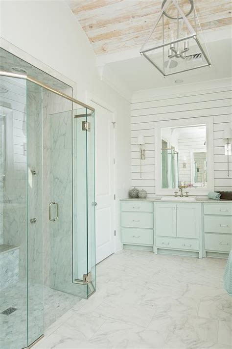 White Washed Shiplap Turquoise Blue Cottage Bathroom With Barrel Ceiling