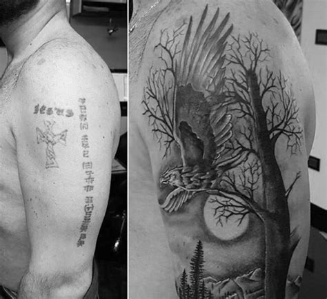 eagle tattoo cover up ideas 60 tattoo cover up ideas for men before and after designs