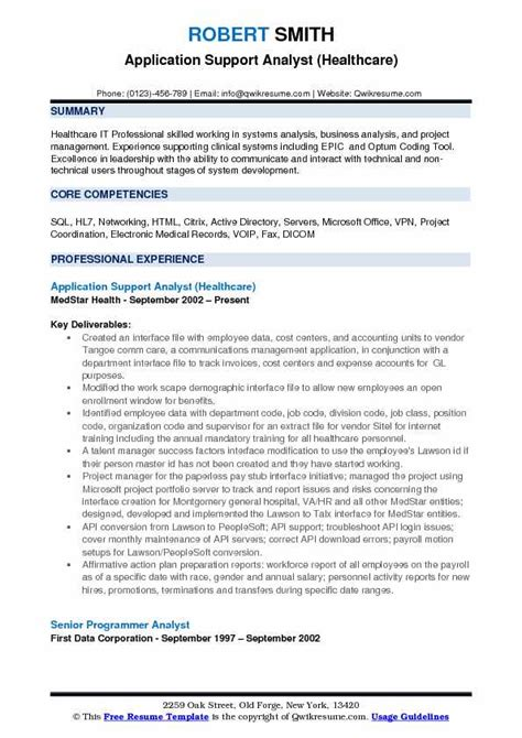 application support experience resume format application support analyst resume sles qwikresume