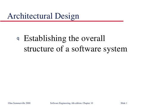 architectural pattern software engineering architectural design in software engineering se10