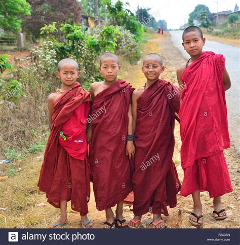 What Lies Beneath The Robes Are Buddhist Monasteries Suitable Places For Children Adele Four Young Theravada Buddhist Monks Wearing Their Robes At