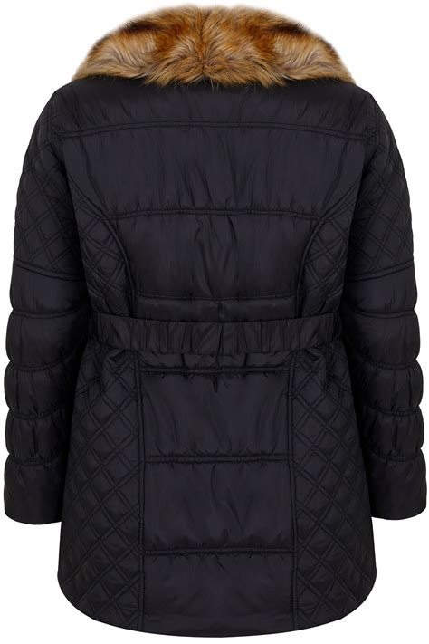 Where Can I Use My Target Visa Gift Card - black quilted puffer jacket with tan faux fur collar elasticated belt plus size 16 to 36