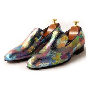 colorful flats 2015 colorful printing leather business dress slip on