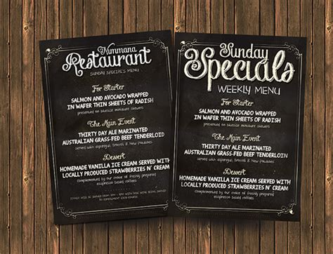 Free Chalk Board Menu Psd Flyer Template Flyerheroes Chalkboard Menu Template Free