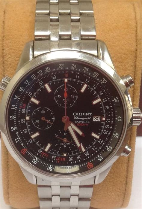 Orient Ftt16005b Chronograph Black Black Leather 1 s watches orient alarm chronograph sapphire ftd09001b0 black was listed