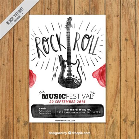 descargar imágenes rockeras gratis folleto de rock and roll de acuarela descargar vectores