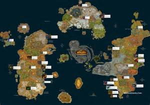 Wow World Map by Map Locations World Warcraft