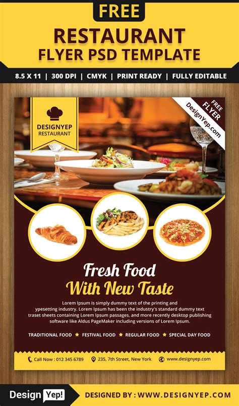 Free Templates For Restaurant Flyers | 30 free restaurant and food menu flyer templates designyep