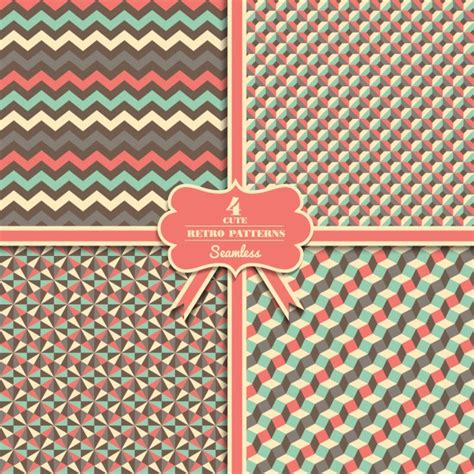 cute pattern set seamless cute retro pattern set vector free download