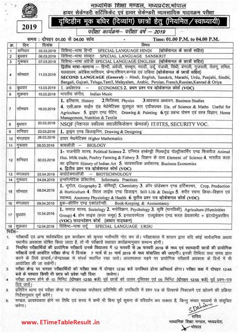 MP Board 12th Class Time Table 2020 - Download MPBSE HSSC